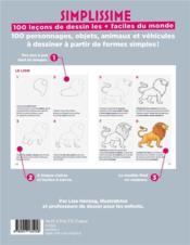 Simplissime ; 100 leçons de dessin les + faciles du monde - 4ème de couverture - Format classique