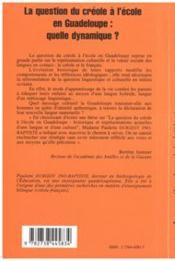 La Question Du Creole A L'Ecole En Guadeloupe - 4ème de couverture - Format classique