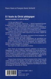 À l'écoute du Christ pédagogue - 4ème de couverture - Format classique