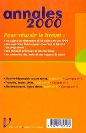 Mathematiques Toutes Series Brevet Sujets Et Corriges - 4ème de couverture - Format classique