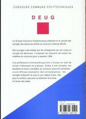 Concours Communs Polytechniques ; Filiere Deug ; Corriges Des Epreuves 1999 - 4ème de couverture - Format classique