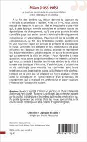 Milan (1955-1965) ; la capitale du miracle économique italien, entre littérature et cinéma - 4ème de couverture - Format classique