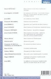 CONNAISSANCE DES RELIGIONS ; René Guenon ; l'éveilleur 1886-1951 - 4ème de couverture - Format classique