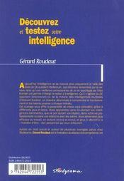 Decouvrez et testez vos formes d'intelligence - 4ème de couverture - Format classique