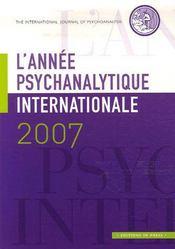 L'année psychanalytique internationale 2007 - Intérieur - Format classique