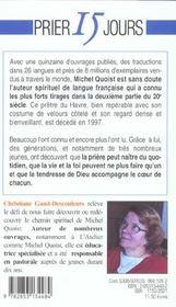 Prier 15 Jours Avec ; Michel Quoist - 4ème de couverture - Format classique