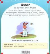 Oscar se dispute avec praline - 4ème de couverture - Format classique
