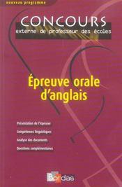 Epreuve Orale D'Anglais (Edition 2006) - Intérieur - Format classique
