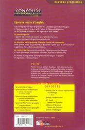 Epreuve Orale D'Anglais (Edition 2006) - 4ème de couverture - Format classique