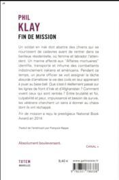 Fin de mission - 4ème de couverture - Format classique