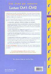 Lecture ; CM1/CM2 ; fiches à photocopier - 4ème de couverture - Format classique