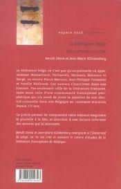 La littérature belge - 4ème de couverture - Format classique
