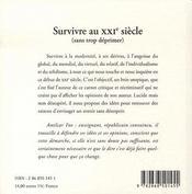 Survivre au XXI siècle (sans trop déprimer) - 4ème de couverture - Format classique