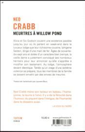 Meurtres à Willow Pond - 4ème de couverture - Format classique