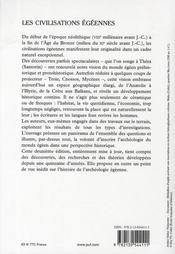 Les civilisations égéennes du néolithique et de l'âge de bronze (2e édition) - 4ème de couverture - Format classique
