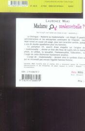 Madame ou mademoiselle - 4ème de couverture - Format classique