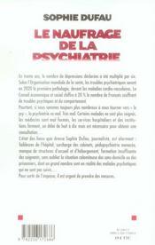 Le naufrage de la psychiatrie - 4ème de couverture - Format classique
