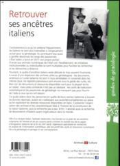 Retrouver ses ancêtres italiens (2e édition) - 4ème de couverture - Format classique