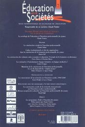Revue Education Et Societes N.7 ; Entre Education Et Travail: Les Acteurs De L'Insertion - 4ème de couverture - Format classique