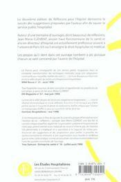 Reflexions Pour L'Hopital 2e Ed Proximite - Cooperation - Pouvoirs - 4ème de couverture - Format classique