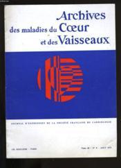 Archives Des Maladies Du Coeur Et Des Vaisseaux. Tome 68. N°8. - Couverture - Format classique