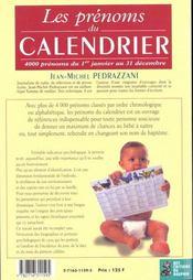 Les Prenoms Du Calendrier - 4ème de couverture - Format classique