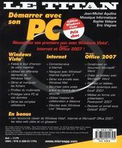 Demarrer avec son PC - 4ème de couverture - Format classique