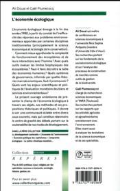 L'économie écologique - 4ème de couverture - Format classique
