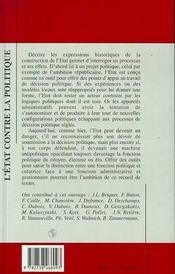 Etat Contre La Politique (L') Les Expressions Historiq - 4ème de couverture - Format classique