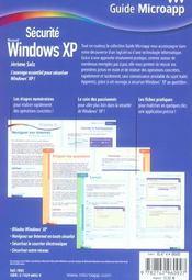 Securite windows xp - 4ème de couverture - Format classique