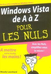 Windows vista de a à z pour les nuls - Intérieur - Format classique