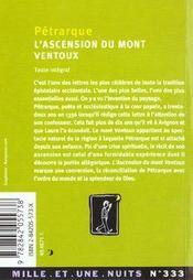 L'ascension du mont Ventoux - 4ème de couverture - Format classique