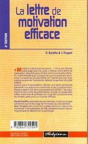 La lettre de motivation efficace - 4ème de couverture - Format classique