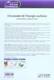 Economie de l'energie nucleaire - 4ème de couverture - Format classique