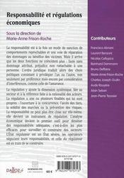 Responsabilite et regulations economiques - 4ème de couverture - Format classique