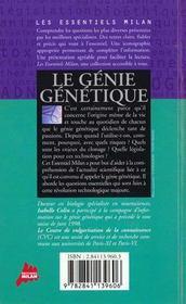 Le Genie Genetique - 4ème de couverture - Format classique