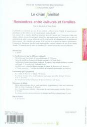 REVUE LE DIVAN FAMILIAL T.19 ; rencontres entre familles et cultures - 4ème de couverture - Format classique
