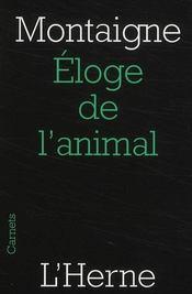 Éloge de l'animal - Couverture - Format classique