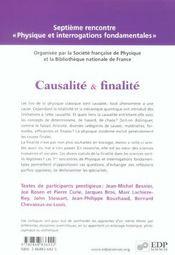 Finalité et causalité - 4ème de couverture - Format classique