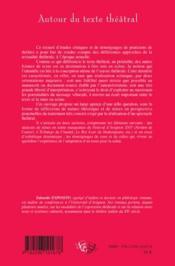 Autour du texte théâtral ; analyses de spectacles et témoignages du travail de mise en scène - 4ème de couverture - Format classique