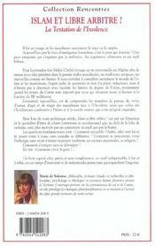 Islam et libre arbitre - 4ème de couverture - Format classique