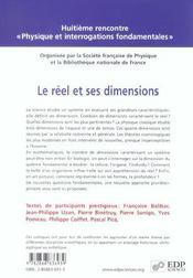 Le réel et ses dimensions - 4ème de couverture - Format classique