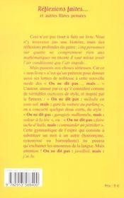 Reflexions Faites Et Autres Libres Pensees - 4ème de couverture - Format classique