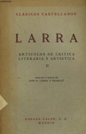 Articulos De Critica Literaria Y Artistica, Ii - Couverture - Format classique