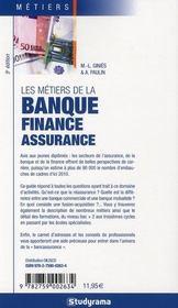 Les métiers de la banque, finance, assurance - 4ème de couverture - Format classique