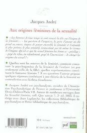 Aux origines féminines de la sexualité - 4ème de couverture - Format classique