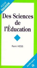 Des sciences de l'education - Couverture - Format classique