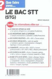 Que Faire Avec Le Bac Stt Stg - 4ème de couverture - Format classique