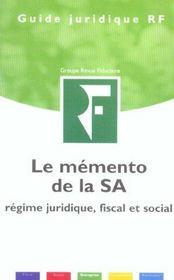 Memento De La S.A ; Regime Juridique. Fiscal & Social - Intérieur - Format classique