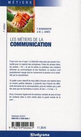 Les métiers de la communication - 4ème de couverture - Format classique